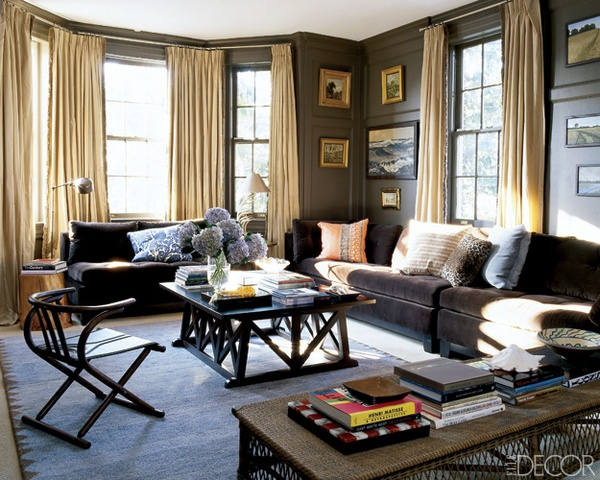 Living Rooms Rustic Grey Walls
